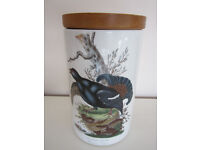 """PORTMERION 'Birds of Britain' storage jar 8"""" High (including wooden lid) IMMACULATE & collectable"""