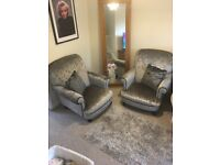 DFS crushed velvet Armchair x2