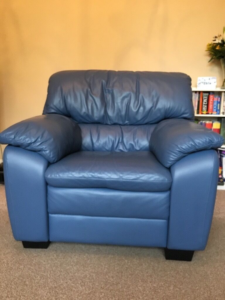 Blue Leather Sofa Chair In Southside Glasgow Gumtree ~ Blue Leather Sofa And Chair