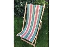 Four striped deck chairs