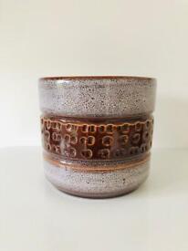 Vintage Glazed Brown Ceramic Planter Cachepot