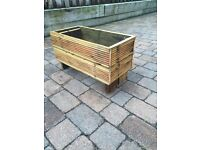 Planters, Benches and stools made from reclaimed decking