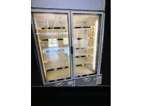 Display freezer upright double door open unit cabinet commercial