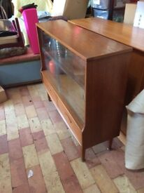 Mid Century Cocktail Cabinet, Sliding Bookcase,