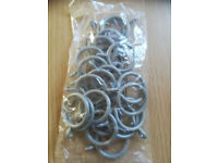 PACK OF 20 GREY PLASTIC CURTAIN RINGS-UNOPENED