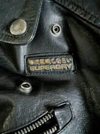 Mens Vintage Superdry Leather Jacket