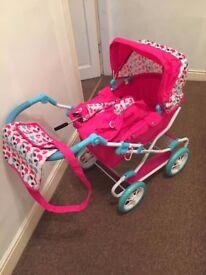 Mamas & Papas Xcel Graziella Junior Dolls Pram Pink Bird Design
