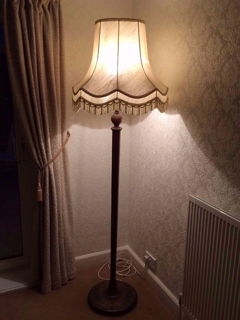 Vintage 1930 S Antique Art Deco Wooden Standard Floor Lamp