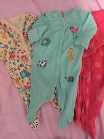 Baby girl NEXT newborn sleepsuits x3