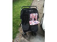 Red Kite Black Double Buggy including Raincover