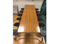 FREE DINING TABLE WITH ATTACHED CHAIRS
