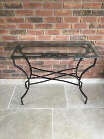 Glass/wrought iron side table