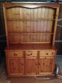 Large Solid Pine Farmhouse Style Welsh Dresser With Three Drawers and Large Cupboard