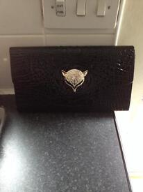 Diamonte Croc Effect Clutch Bag