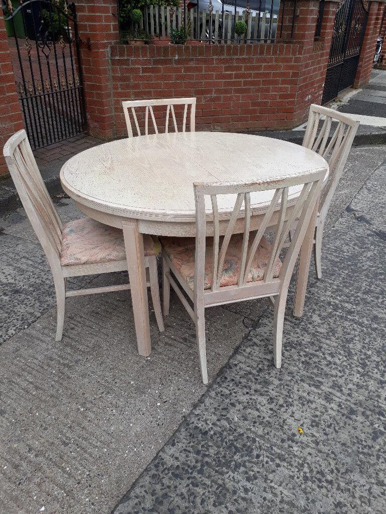 Gplan Round Light Wood Extending Dining Table And Chairs In - Light wood extending dining table