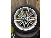 """Set of four genuine bmw m sport 17"""" staggered alloys and tyres"""