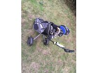 Right-handed men's Golf clubs with bag and trolley
