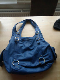 Blue real leather funky handbag, unique stylish, young and current