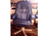 Blue leather reclining chair