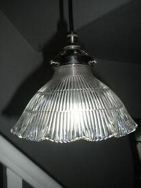 Prismatic Holophane Glass Light - Antique, Edwardian, Art Deco, Mid Century, Vintage