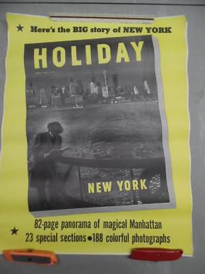 1949 BIG STORY OF NEW YORK CITY Holiday Magazine Newsstand Poster Gotham Vintage