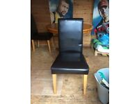 6 x Black Leather Effect Dining Chairs