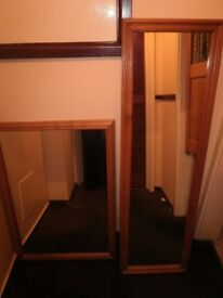 mirrors 1 long 1 other pine frames ,cash on pick up