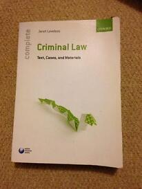 Text book- Criminal Law; text, cases and materials