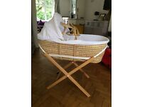 Moses basket with stand and mattress - fantastic condition