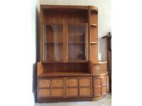 Large retro teak display cabinet sideboard with corner unit for sale