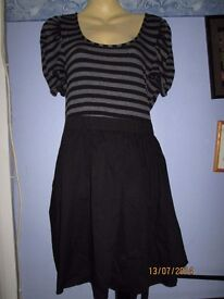 BLACK DRESS WITH STRIPEY TOP DRESS SIZE 16 BY F&F VERY NICE CASUAL DRESS