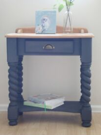 Solid Pine Console Table Painted In Annie Sloan Graphite