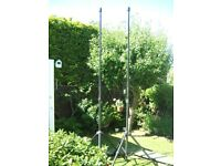 Two very tall heavy duty tripod stands. NOW REDUCED TO TWENTY FIVE POUNDS !!