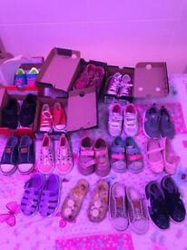 Job lot of girls shoes and clothes age 3-4