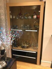 Oak Ready Assembled Glass Door Display Cabinet