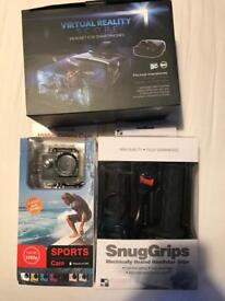 Sports cam/ heated motorbike grips / mobile vr head set