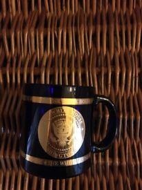 The White House Collectible Cobalt Blue Glass mug.
