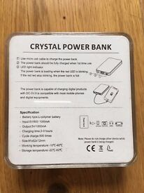 Crystal Power Bank with 3 different charging points
