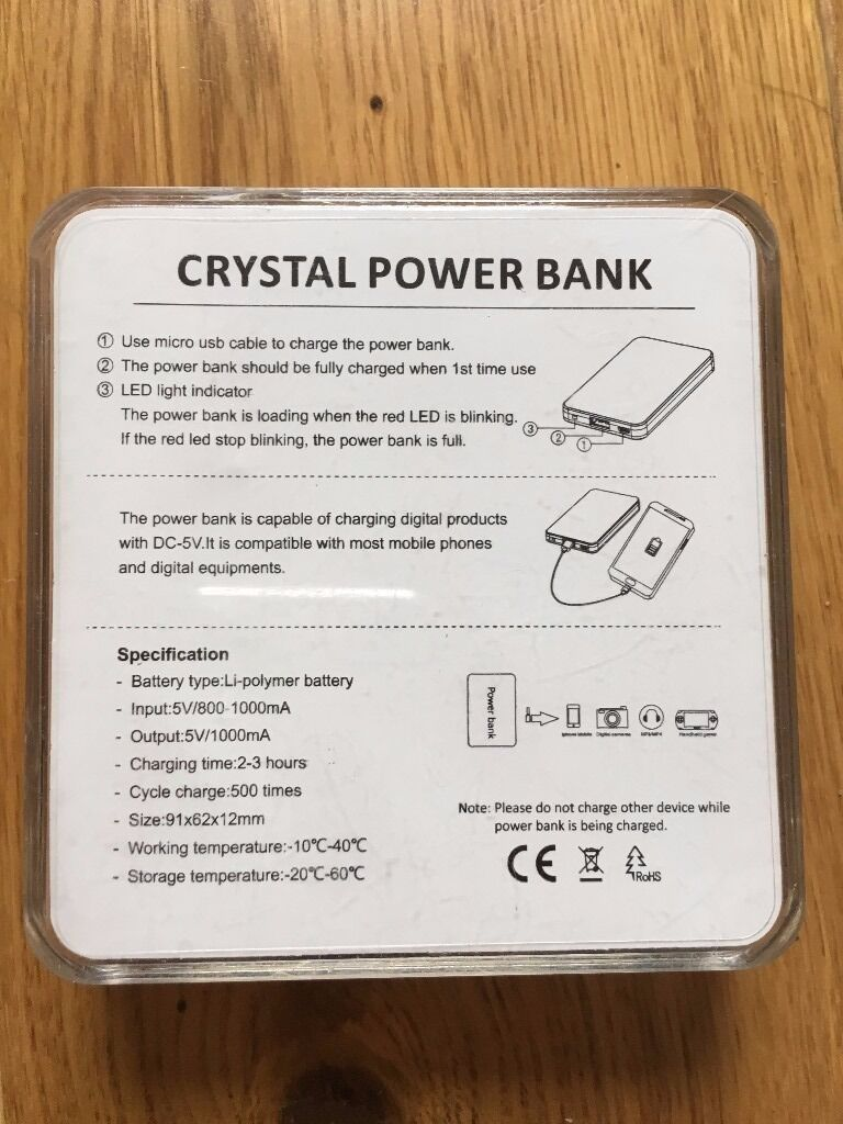 Crystal Power Bank with 3 different charging points | in Paddington, London  | Gumtree
