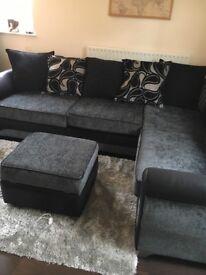 Corner sofa charcoal grey with footstool