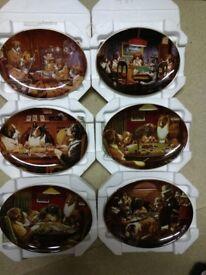 6 Franklin Mint C M Coolidge, Dog wall Plates.