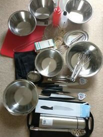 Catering / kitchen supplies mixed set mostly brand new equipment steel bowls utensils thermometer