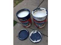 2 tins of classic cream smooth masonry paint