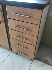 7 kitchen units + 3m laminate worktop + 1.2m breakfast bar