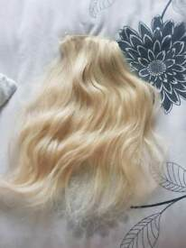 Real hair clip in extensions blonde