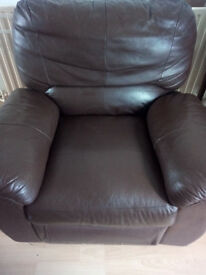 Brown real leather recliner armchair, collection only