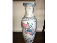 VERY PRETTY LARGE VINTAGE HAND PAINTED ORIENTAL VASE WITH BIRDS AND FLOWERS
