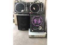 Pair Technic 1210 decks speakers & amp plus spare deck