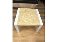 WHITE CREAM BROWN MOSAIC EFFECT COFFEE TABLE - LARGE SQUARE END TABLE