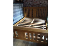 King size oak bed frame, 153cm w, vgc
